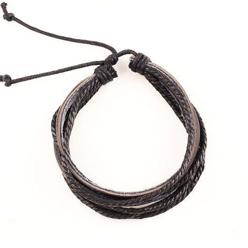 Hand-Woven Multi-layer Leather Braided Rope Wristband Bracelet