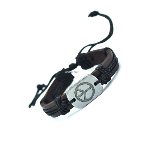 Peace Leather Bracelets ( 4 Variants ) Bracelet Buy top quality Peace Leather Bracelets ( 4 Variants ) Bracelet online in India at low price. get free shipping all across India Only at  Dot Aero