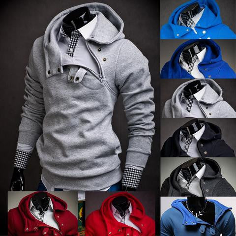 Cross Zipper Layered Collar Hoodie
