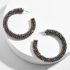 oilslick hoop earrings