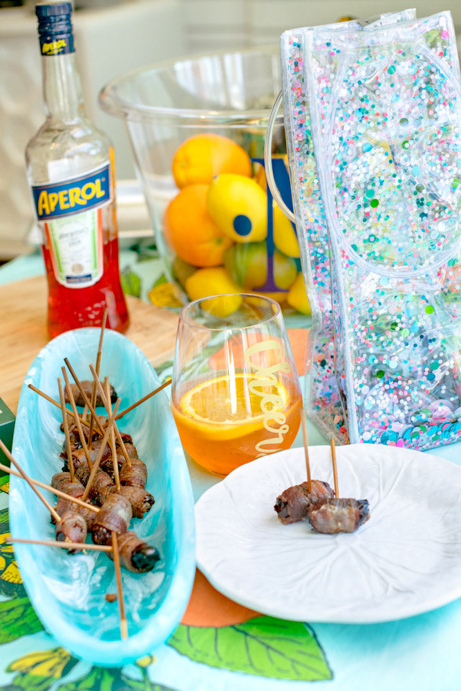 bacon wrapped dates and table top setting