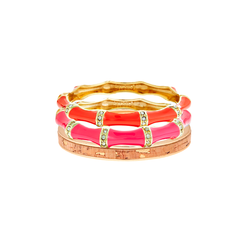 Pink Orange Cork Bangle Stack