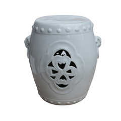 White Carved Floral Garden Stool