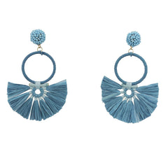 Blue Raffia Fan Earring
