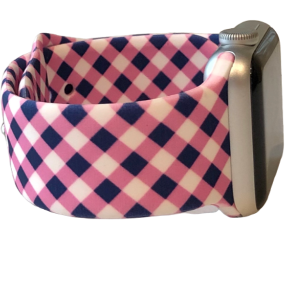 Pink and Navy Plaid Apple Watch Band