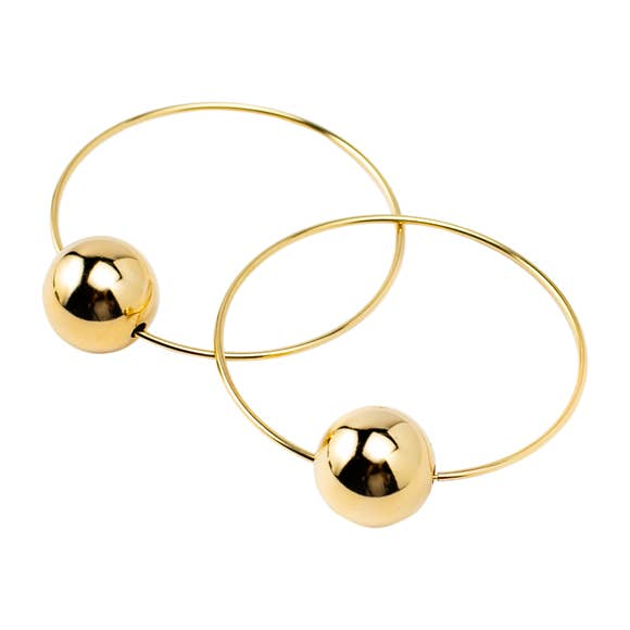 Single Bead Hoop Earrings