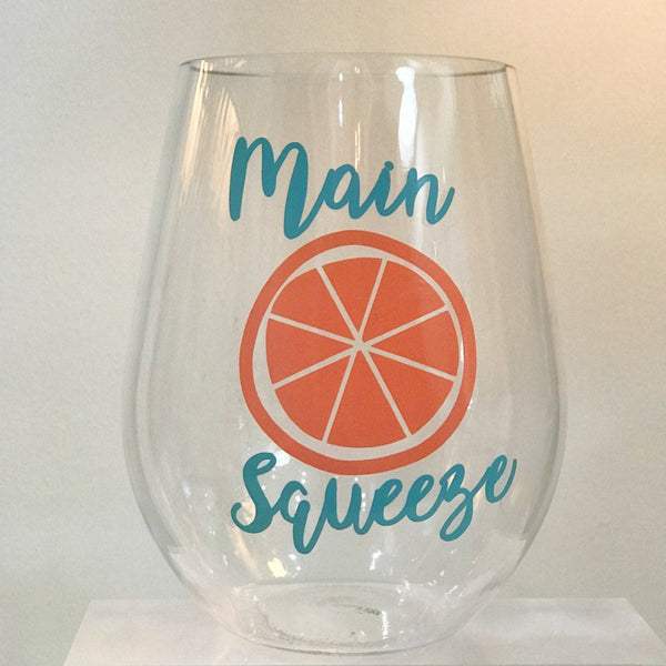 Main Squeeze Acrylic Stemless Wine Glasses