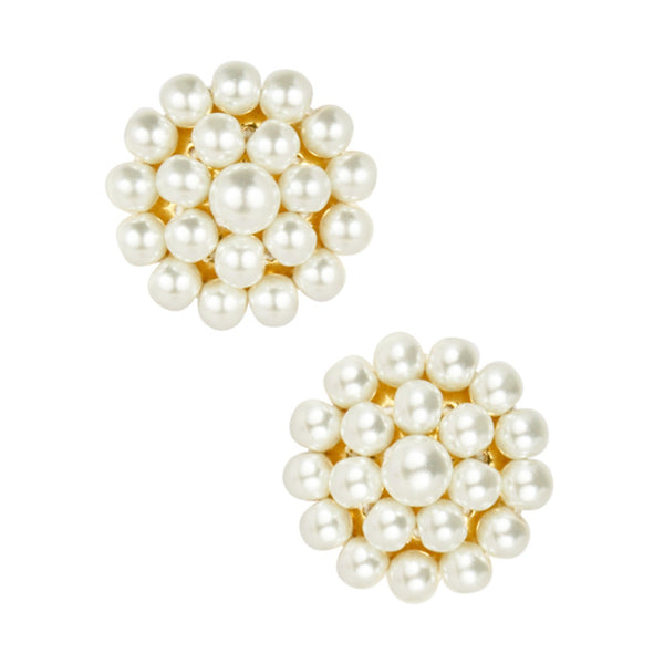 Button Post Earrings | Pearl