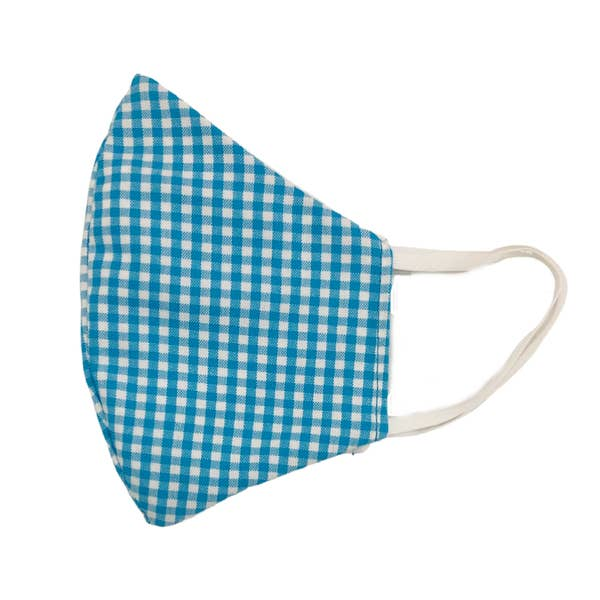 Kids Gingham Face Mask | Turquoise
