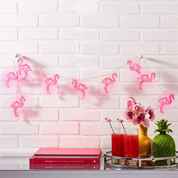 Two's Company Flamingo LED String Lights - thegrovewp