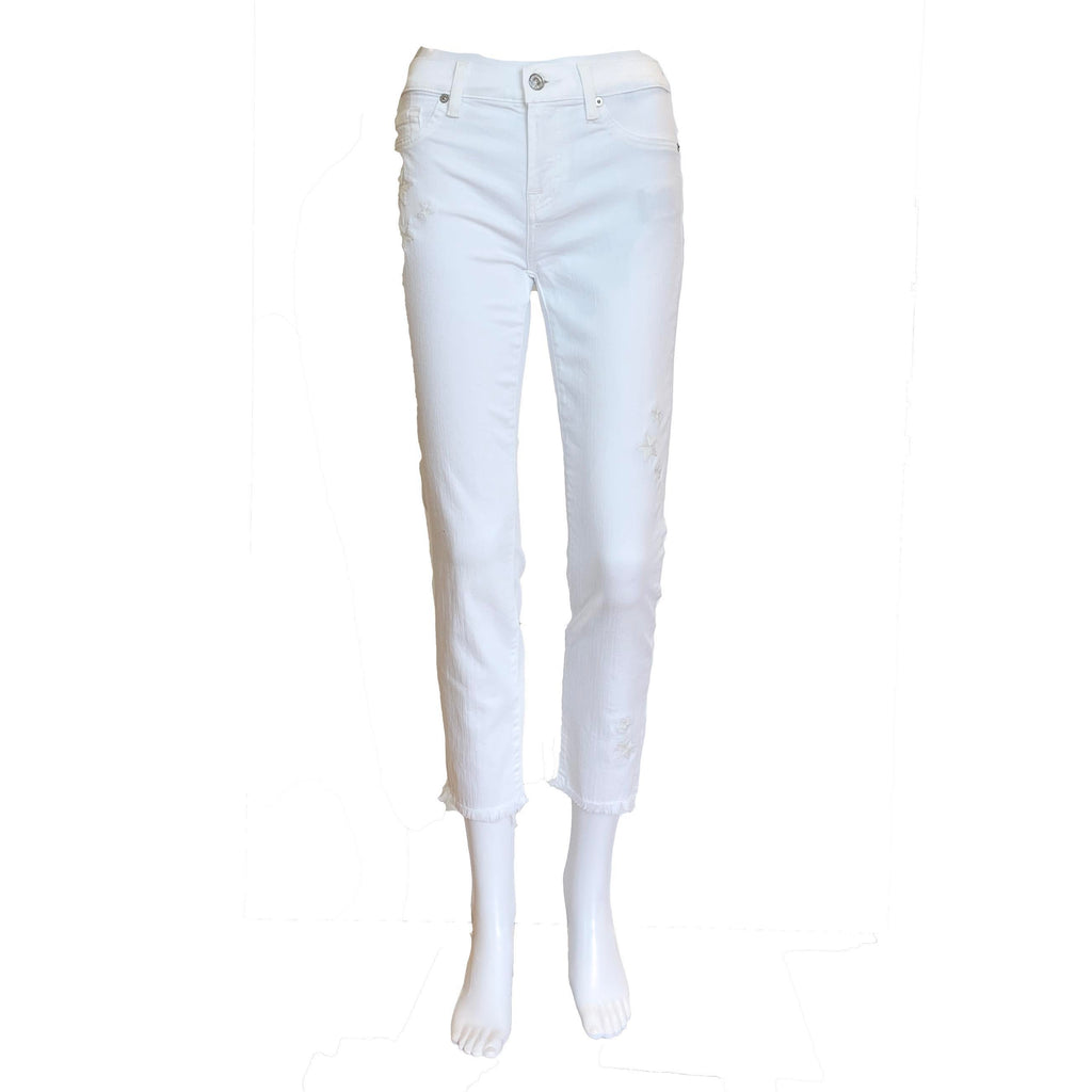 Roxanne Ankle Skinny Jeans | White with Star Detail