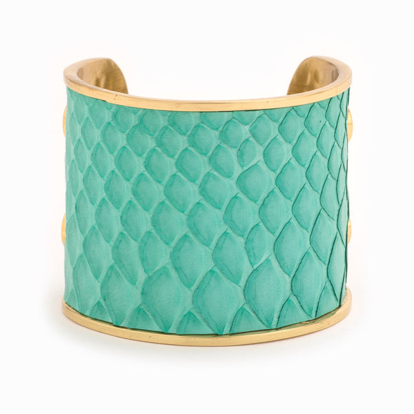 Turquoise & Gold Cuff | Large