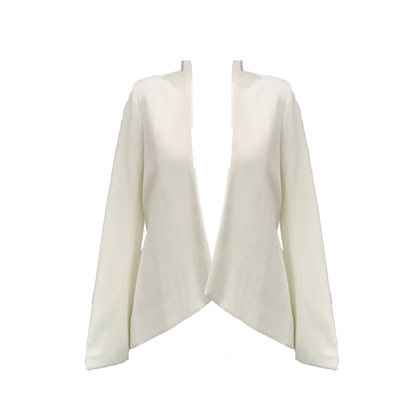 Sculpted Knit Blazer | White