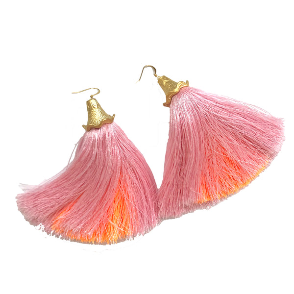 Peekaboo Tassel Earrings | Pink & Melon