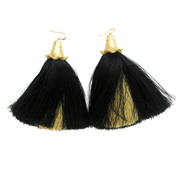 Peekaboo Tassel Earrings | Black & Gold