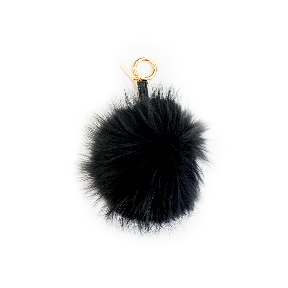 Fur Pom Pom Key Chain/ Bag Charm | Black-Linda Richards-The Grove
