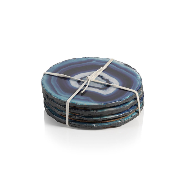 Azul Faux Agate Coasters-Zodax-The Grove