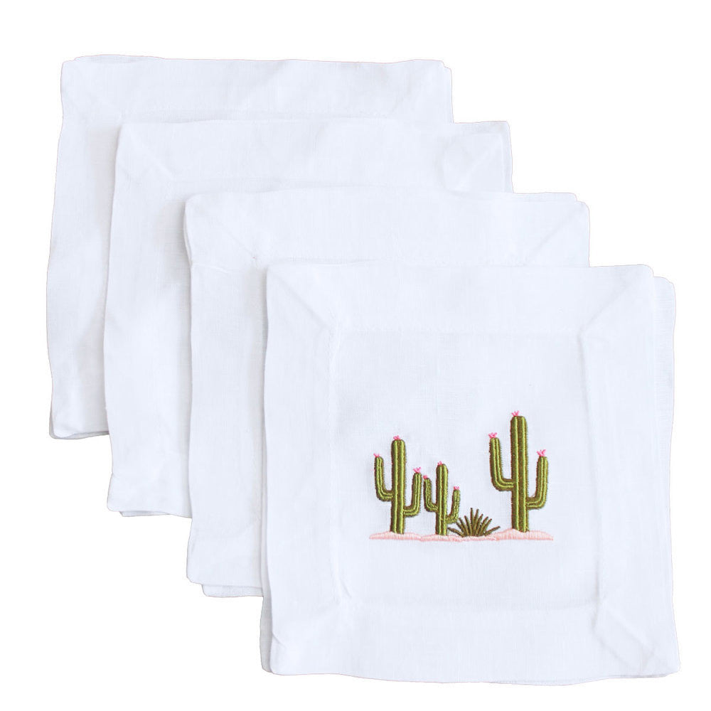 Lettermade Cactus Linen Cocktail Napkins - thegrovewp