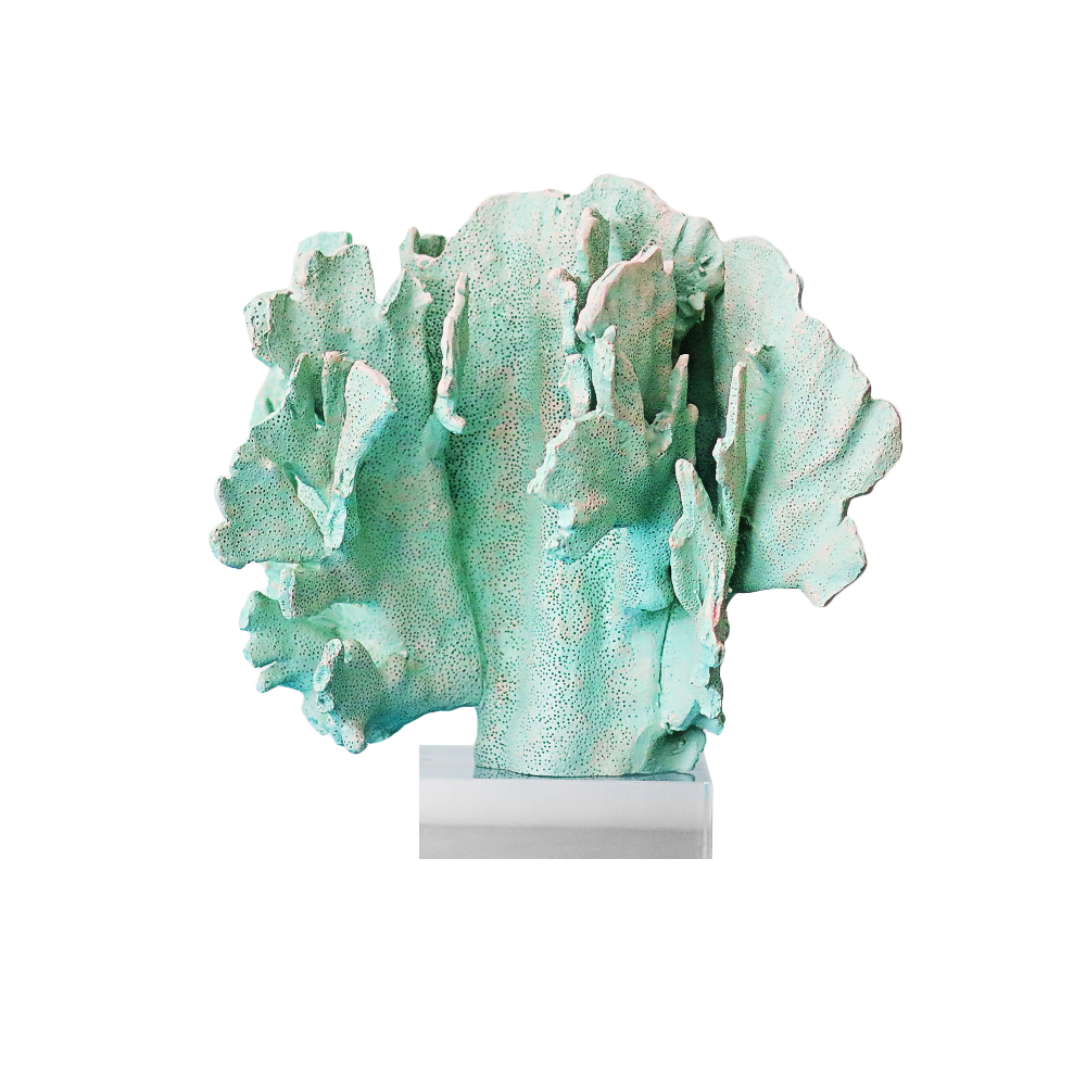 Green Coral Sculpture on Base