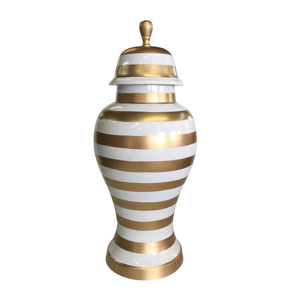 Small Gold Striped Ginger Jar-Dana Gibson-The Grove