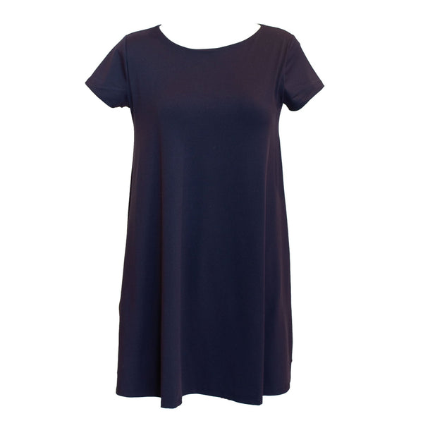 Short Sleeve Tied Back Shirt Dress | Navy