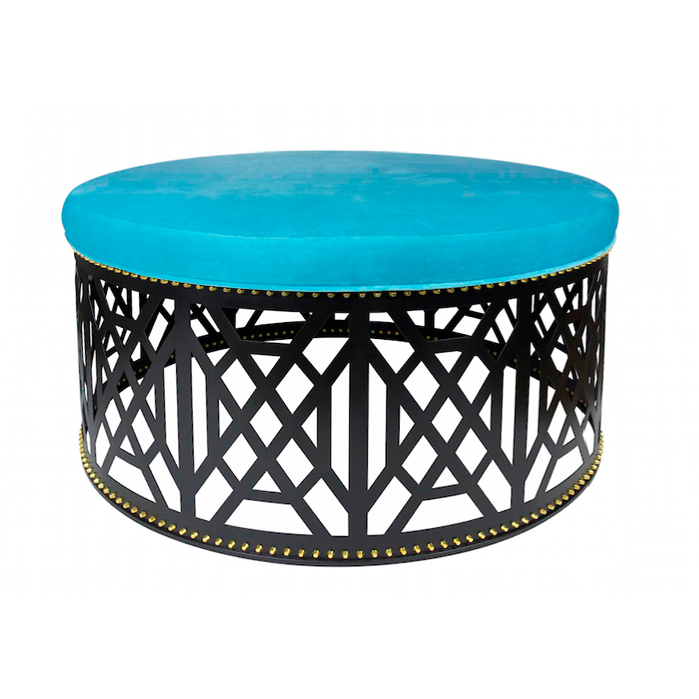 Taylor Burke Home Don't Fret Navy Velvet and Lacefield Zebra Marina Ottoman - thegrovewp