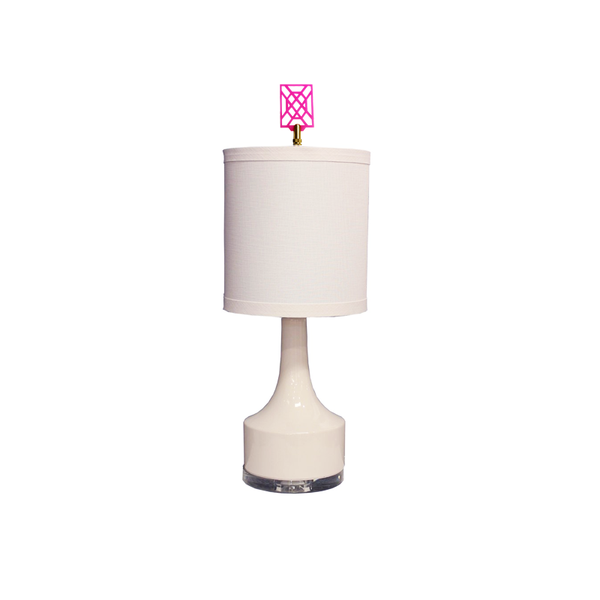 Fretty White Lamp with Pink Finial-Taylor Burke Home-The Grove