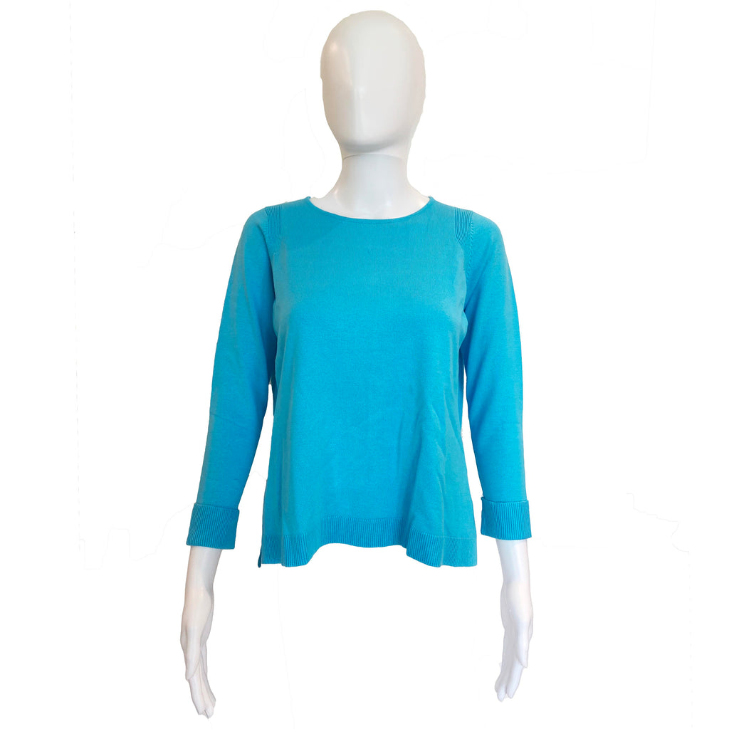 Sneek A Peek Knit Sweater | Turquoise