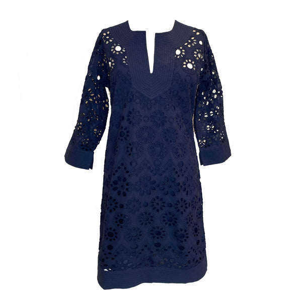 Ethereal Cotton Eyelet Dress | Navy