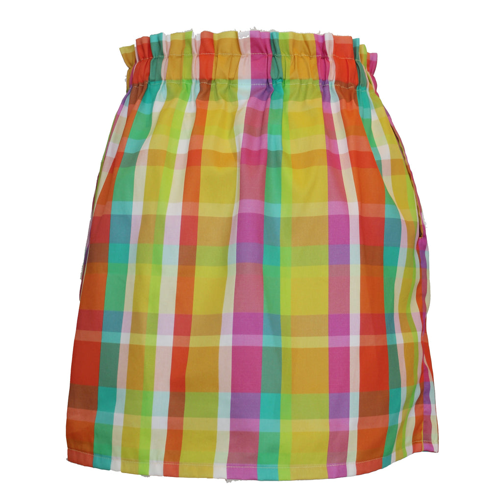 Paperbag Waist Skirt | Yellow Madras