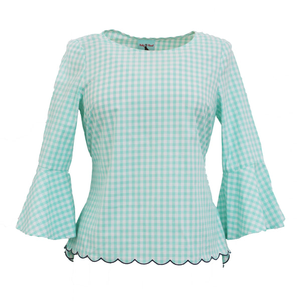 Bell Sleeve High-Low Top | Mint Gingham