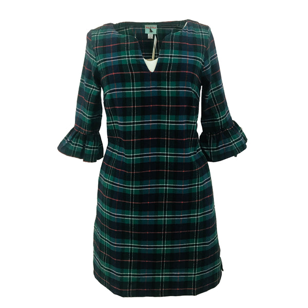Babs Bell Sleeve Dress | Flannel Plaid-Haley & the Hound-The Grove