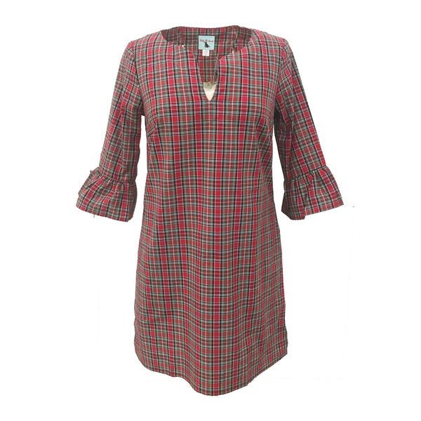 Babs Bell Sleeve Dress | Holiday Tartan