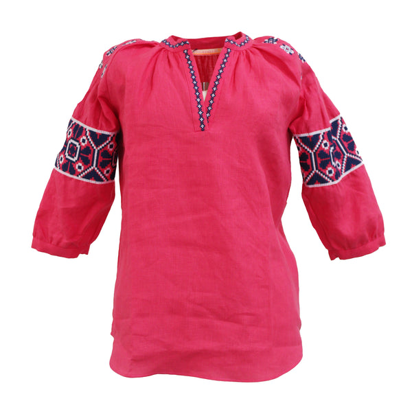 Nicola Embroidered Shirt | Strawberry Pink-Vilagallo-The Grove