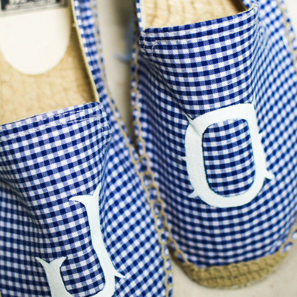 Toss Designs Blue and White Gingham Espadrilles - thegrovewp