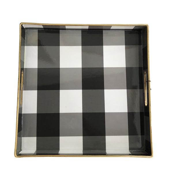 Square Tray | Black Gingham