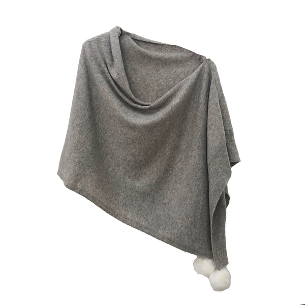 Cashmere Poncho with Pom Poms | Grey & White
