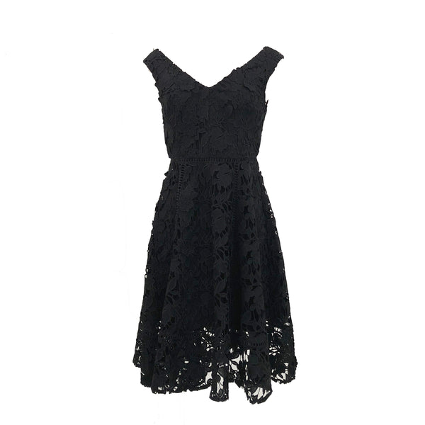 Blossom Lace Bardot Dress | Black
