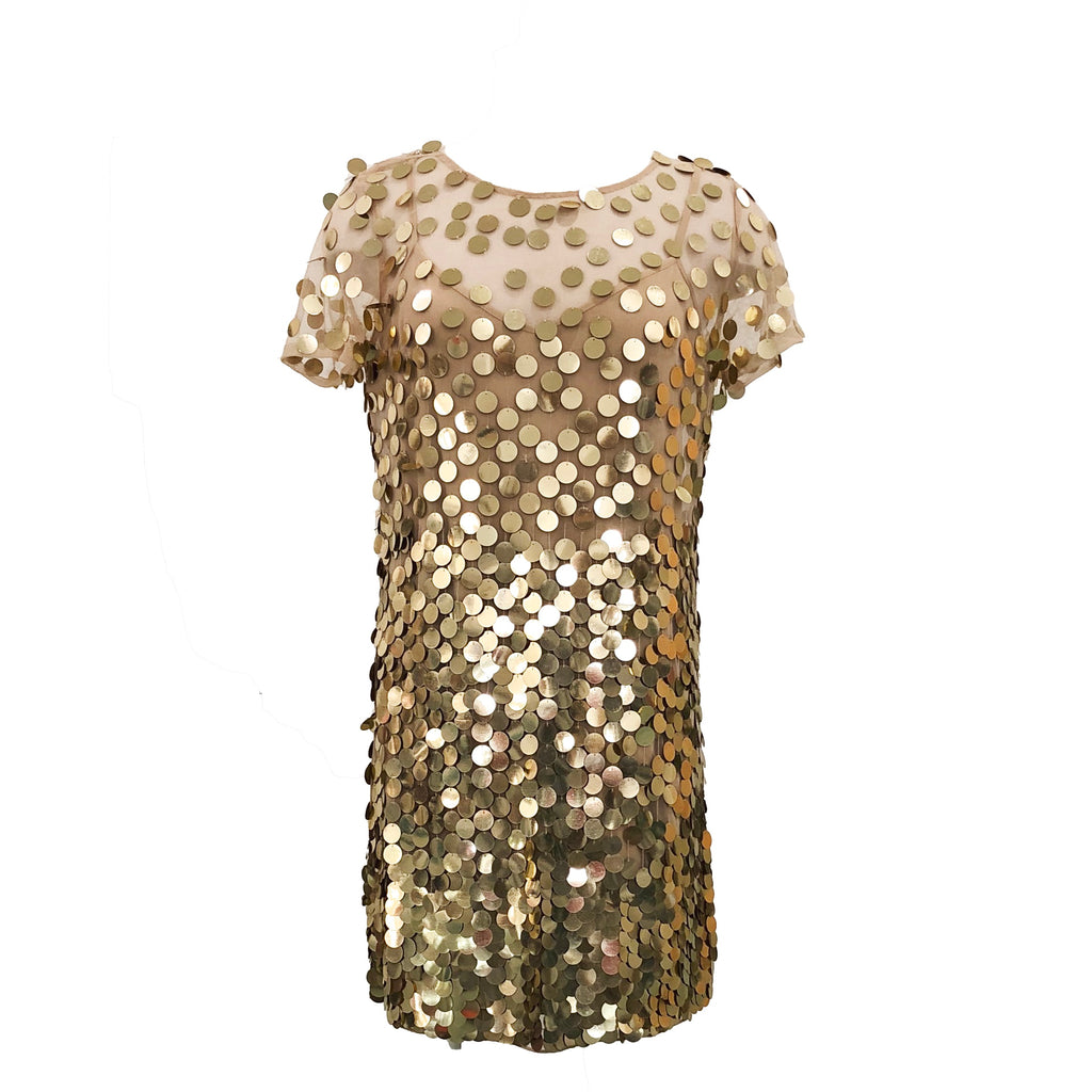 Basu Sparkle Dress | Gold-French Connection-The Grove