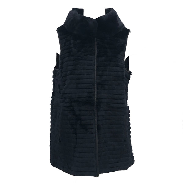 Rex Rabbit Leather Trim Vest | Navy