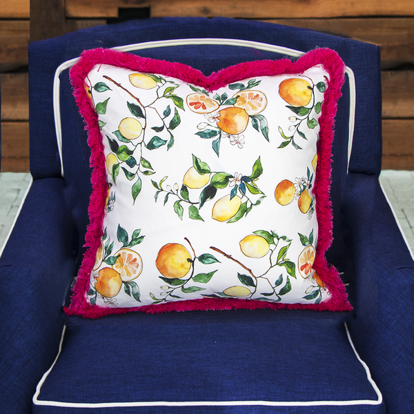 EDW Designs Custom Citrus + Periwinkle with Pink Fringe Pillow - thegrovewp