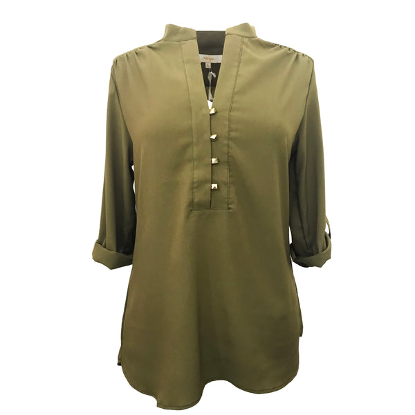 Tunic with Tab Sleeves | Loden