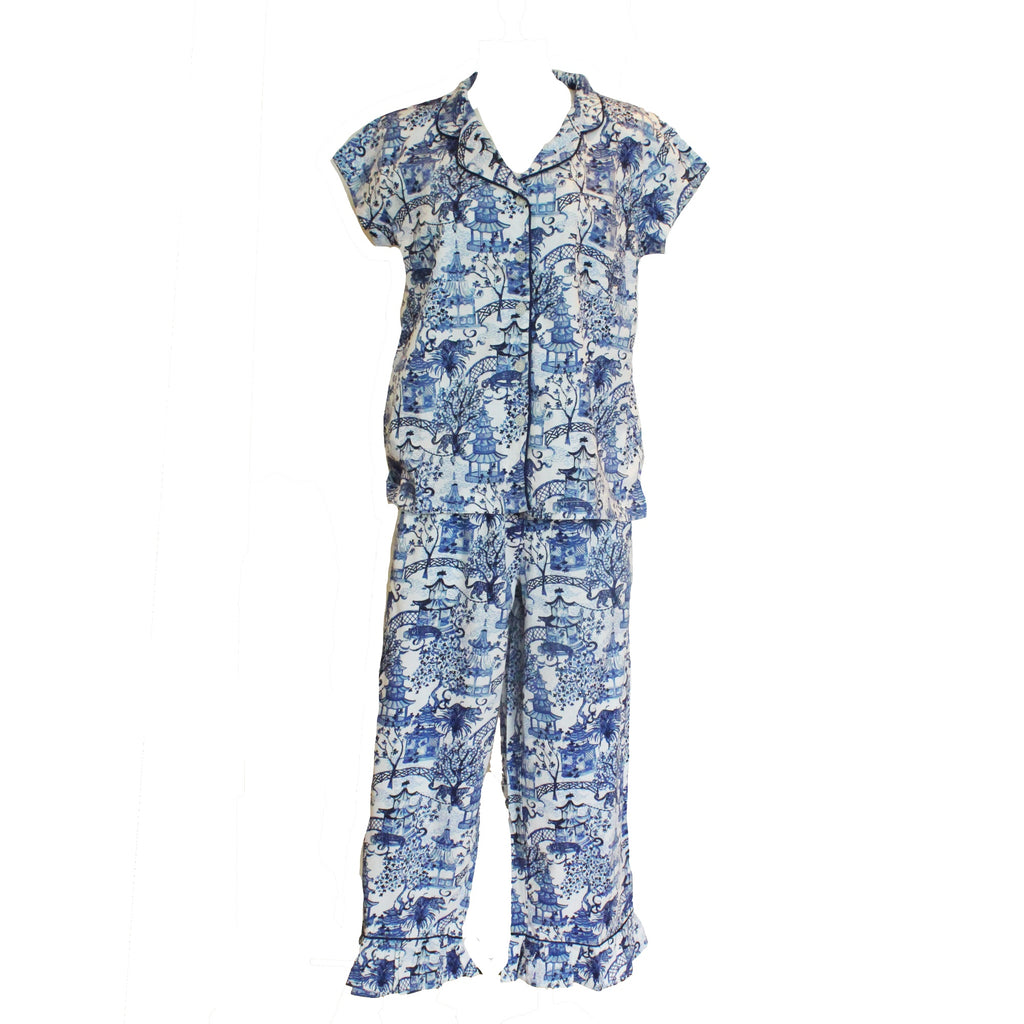 Garden Party Sateen Capri Pajama Set