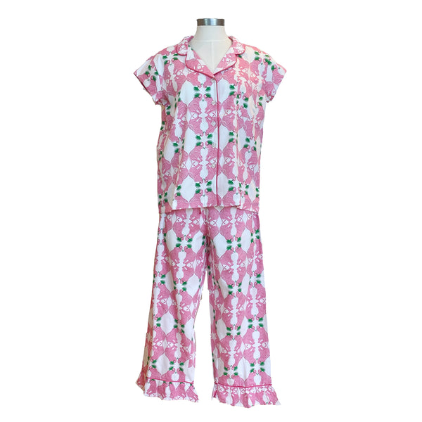 Sateen Capri Pajama Set | Elephants at Play
