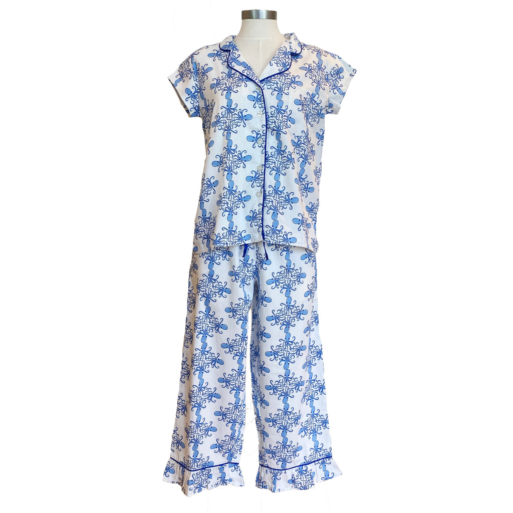 Sateen Capri Pajama Set | Sea Life
