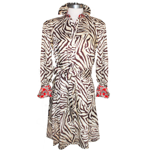 Brown, taupe and cream zebra print shirtdress front