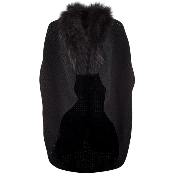 Mohair Knit Fur Shrug | Black