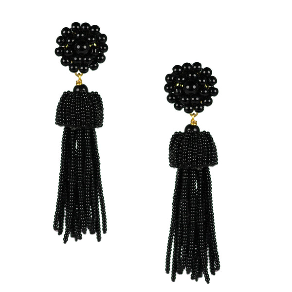 Beaded Tassel | Czech Black