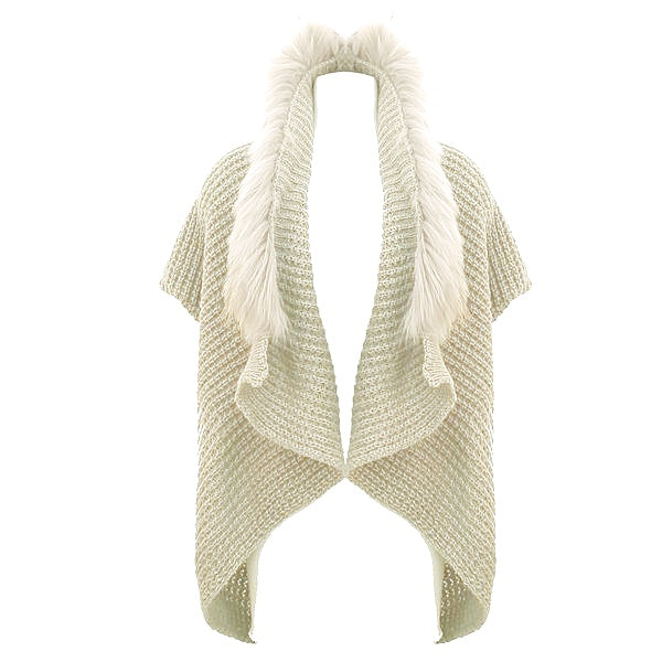 Mohair Knit Fur Shrug | Cream