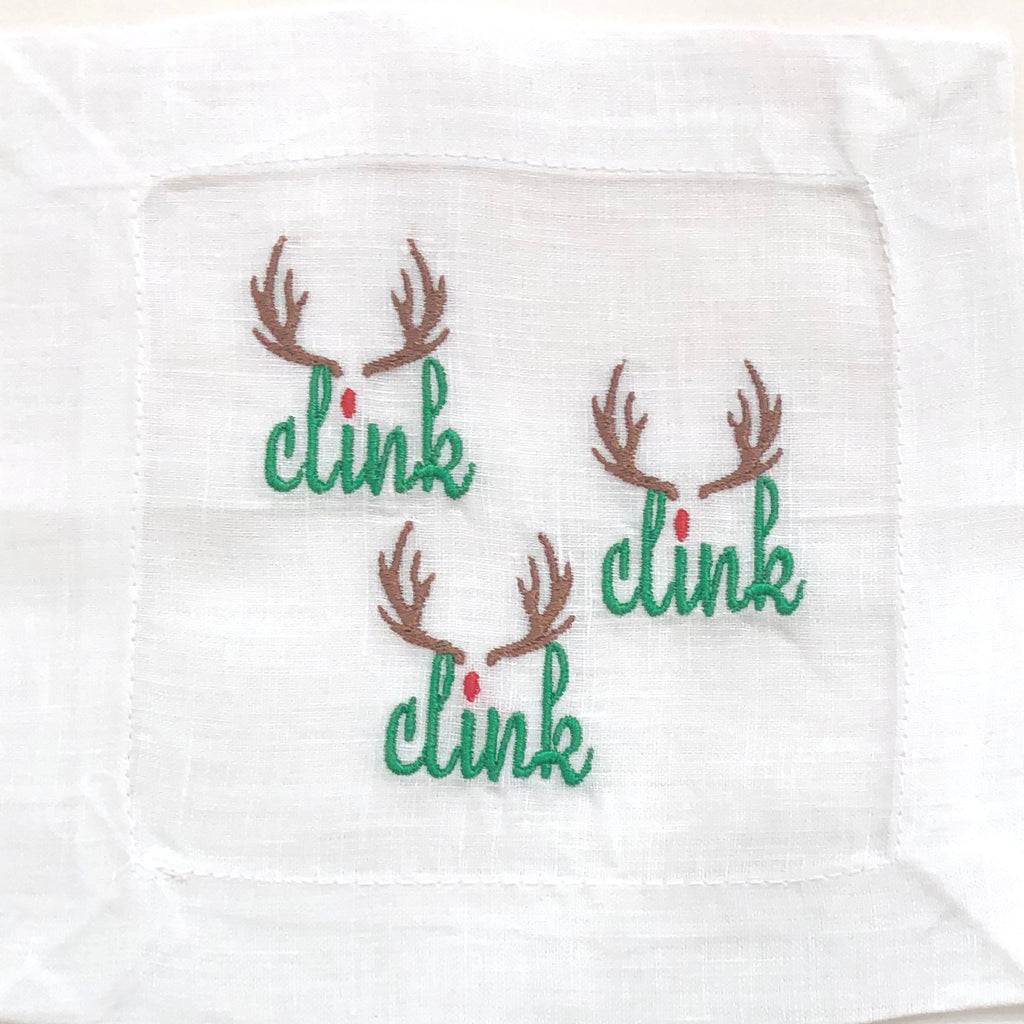 Clink Clink Clink Linen Cocktail Napkins